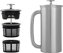 ESPRO French Press P7, kaffestämpelkanna med värmefunktion, kaffebryggare, kaffebryggare, 950 ml, borstat rostfritt stål