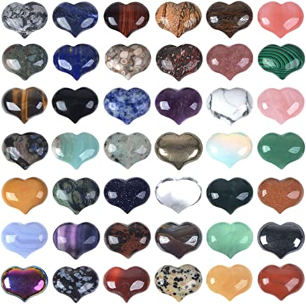 JUST IN STONES Assorted Gemstone 25mm Mini Puffy Heart