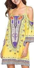 〓COOlCCI〓 Women Bohemian Clod Shoulder Vintage Printed Ethnic Style Summer Shift Dress