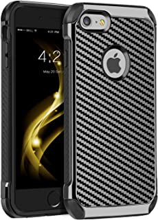 iPhone 6S Plus Case,iPhone 6 Plus Case,BENTOBEN 2 in 1 Slim Hybrid Hard PC Laminated with Carbon Fiber Texture Chrome Shockproof Protective Phone Case Cover for iPhone 6S Plus/iPhone 6 Plus,Gray/Black