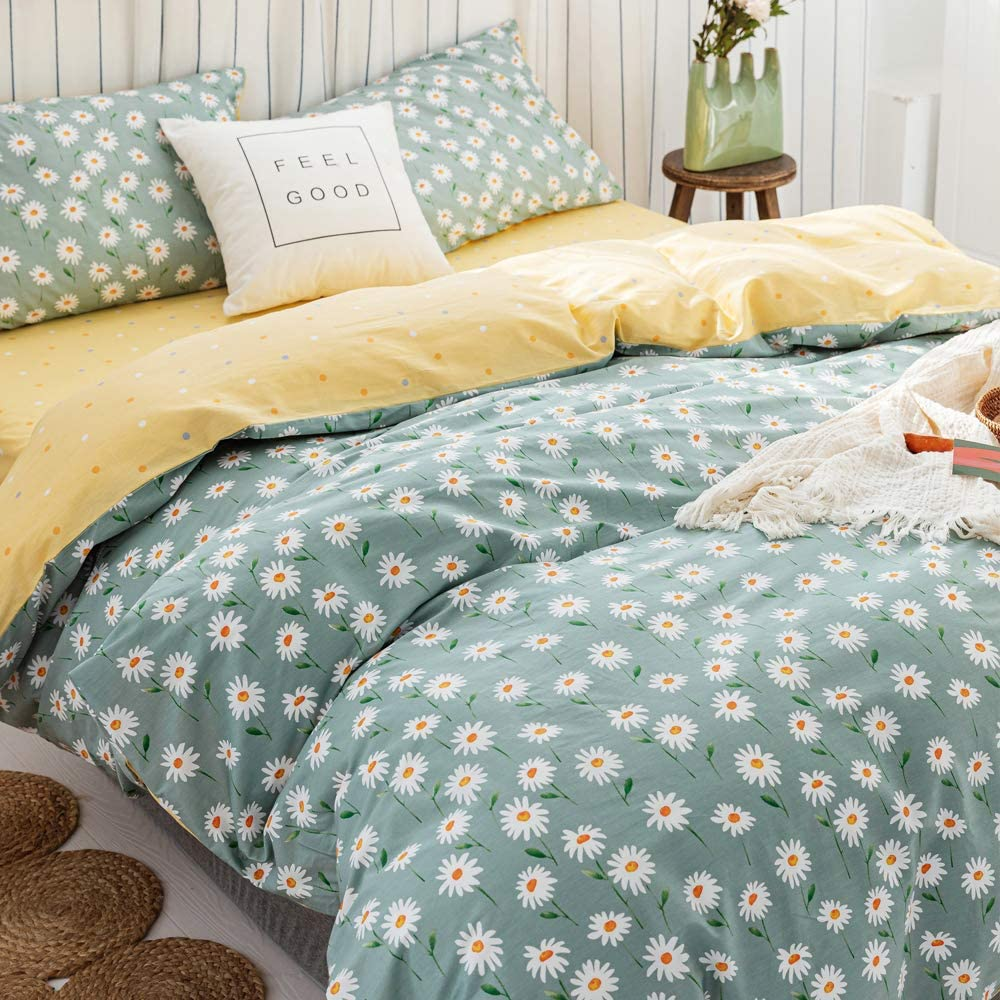 Cotton Floral Duvet Cover We OFFer at cheap prices Sets Sacramento Mall Twin Flower Be Style Daisy Garden