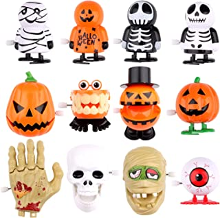 12 Pcs Halloween Wind Up Toys, EBANKU Assorted Cute Jumping Walking Clockwork Toys for Kids Wind Up Small Toys Asooerment ...