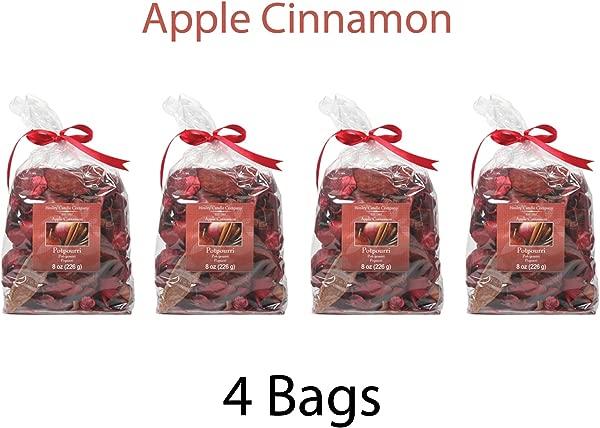 Hosley S 苹果肉桂 Potpourri X 大号散装购买一套 4 袋 8 Oz 每个注入精油理想的婚礼礼物水疗灵气冥想设置 O6