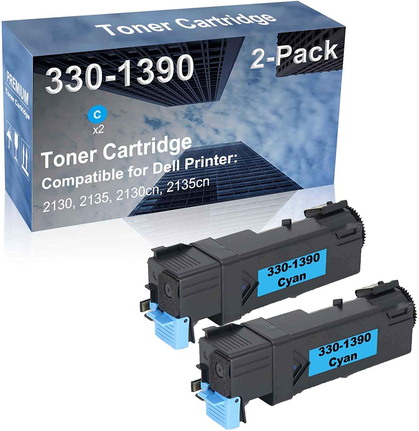 2-Pack (Cyan) Compatible High Capacity 330-1390 Toner Cartridge Used for Dell 2130, 2135, 2130cn, 2135cn Printer