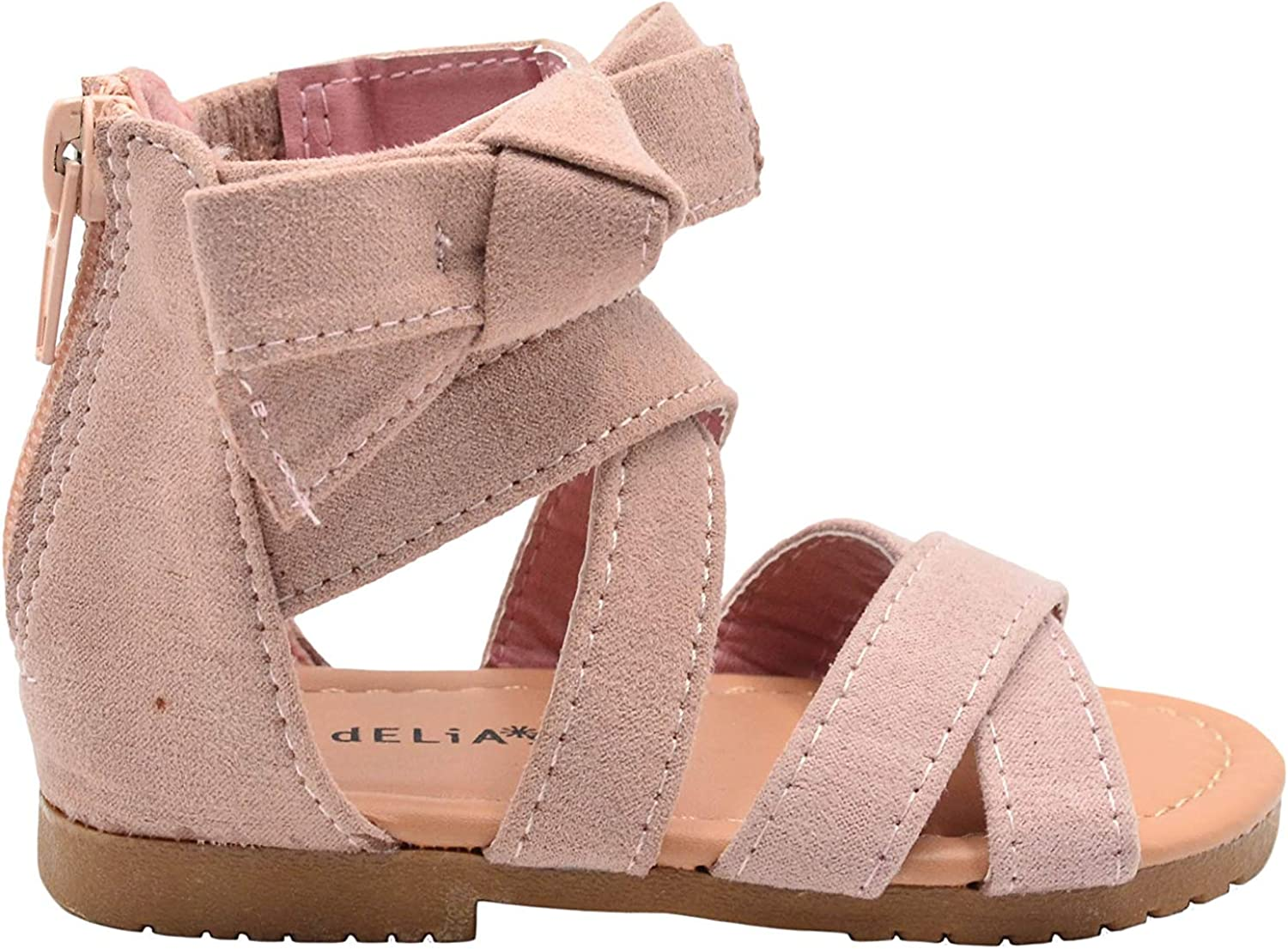 dELiAs Toddler Girls Fashion Sandals Ankle Up Fla Microsuede Zip Now free Popular brand shipping