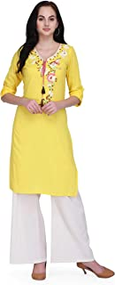 Pret A Porter Yellow Colored Cotton Designer Kurti With Palazzo Pants (Stitched)