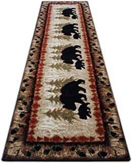 Masada Rugs, Cabin Lodge Area Rug Bear and Cub Scene (2 Feet 8 Inch X 10 Feet) Runner