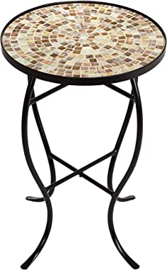 Teal Island Designs Mother of Pearl Mosaic Black Iron Outdoor Accent Table