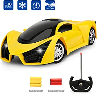 hony Remote Control Car - 1/16 Scale Yellow Drift Toy Racing, with Led Lights High Speed RC Toys Car for Kid 3 4 5 6 7 8 9 Year Old Boys and Girls