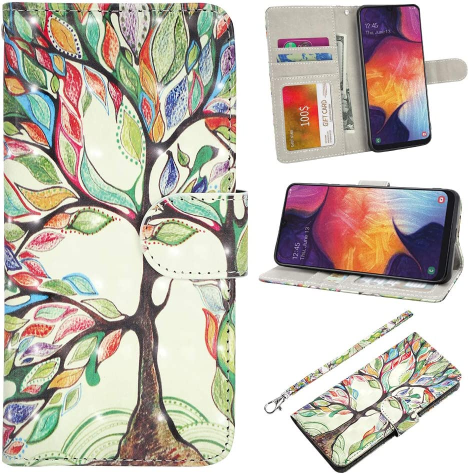 UrSpeedtekLive Galaxy A50 Case, Galaxy A50 Wallet Case, Premium PU Leather Wristlet Flip Wallet Case Cover with Card Slots & Stand for Samsung Galaxy A50 - Love Tree