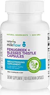 Milkflow Fenugreek Lactation Supplement Capsules with Blessed Thistle for Breastfeeding by UpSpring Baby, 100 Count Pills ...