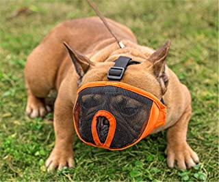 """Pets Empire Short Snout Dog Muzzle- Adjustable Breathable Mesh Bulldog Muzzle for Biting Chewing Barking Training Dog Mask (18""""-25"""") XL.-1 Piece Color May Vary"""