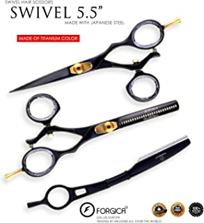 Hair Cutting Scissors/Thinning Shears/Professional Barber/Hair Straight Razor/Barber Scissors/Swivle Barber Shears with Fine Adjustment Screw Japanese Stainless Steel - Forgica (5.5)