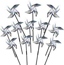 WXJ13 Repellent Pinwheels Sparkly Silver Mylar Pinwheel Holographic Spinners Whirl for Scaring Birds and Pests, Set of 12