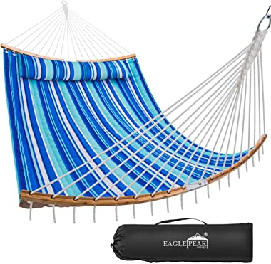 EAGLE PEAK 11 FT Double Hammock Quilted Fabric Hammock with Bamboo Wood Spreader Bars & Detachable Pillow, 2 Person Porta