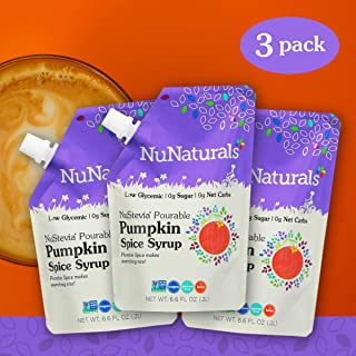 NuNaturals Pumpkin Spice Flavored Sugar-Free Pourable Syrup, 0 Net Carbs (Pumpkin Spice Syrup 3 Pack, 6.6 oz)