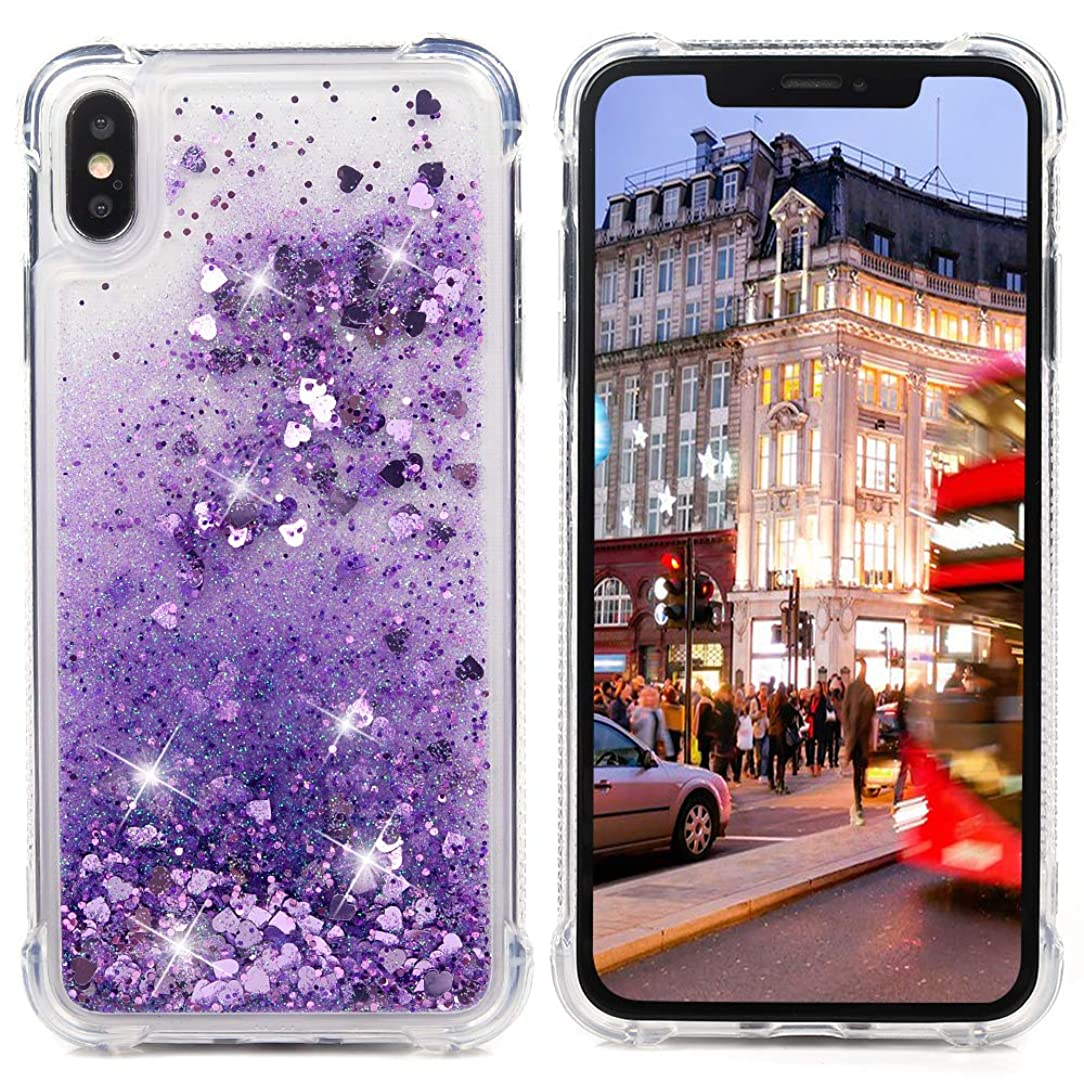 Badalink Compatible iPhone Xs Max 6.5 in 2018 Case, iPhone Xs Max Bling Sparkly Glitter Liquid Clear Cover Shock Absorption Drop Protection Bumper Soft TPU Shell iPhone Xs Max 6.5'' 2018 - Purple