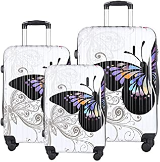 Luggage Set Durable Lightweight Hard Case Spinner Suitcase LUG3-PC04, 3 Pieces, Butterfly
