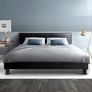 Queen Bed Frame, Artiss Leather Upholstered Platform Bed Base NEO, Black
