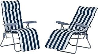 Outsunny Conjunto de 2 Tumbonas Plegable Jardín Silla Inclinable Acolchado Reposapies Playa Camping Acero Azul