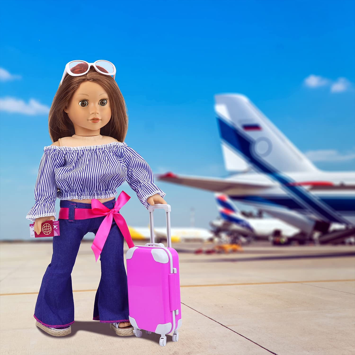 """ZITA ELEMENT 16 Pcs American 18 Inch Doll Suitcase Luggage Travel Set for Girl 18"""" Doll Travel Carrier Storage, Including Suitcase Pillow Blindfold Sunglasses Camera Computer Cell Phone Ipad,ect"""