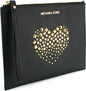 457fabc3e1dfdd Michael Kors Jet Set Heart Studded XL Giftables Zip Leather Clutch Wristlet