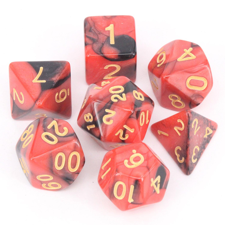 Pack de 7 dados poliédricos con bolsa para juegos de mesa, color Red&Black: Amazon.es: Oficina y papelería