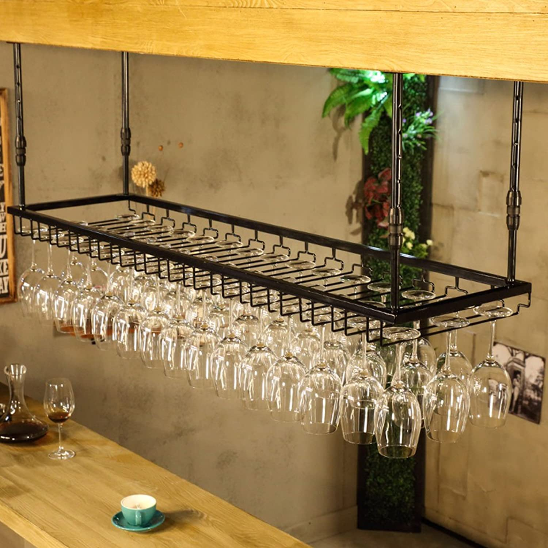 WAN SAN QIAN- Wine Glass Holder Creative Wrought Iron Hanging Red Wine Glass Holder Wall Hanging European Ingreened Wine Cup Holder Wine Rack (color   Black, Size   S 60cm35cm)