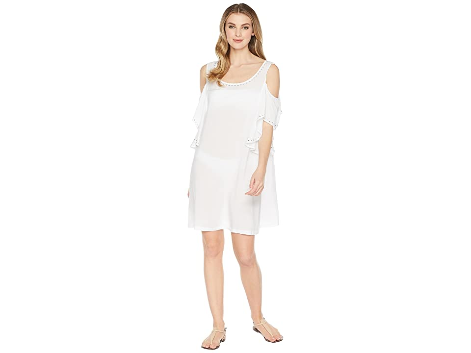 MICHAEL Michael Kors Solids Cold Shouder Ruffle Cover-Up w/ Studs (White) Women