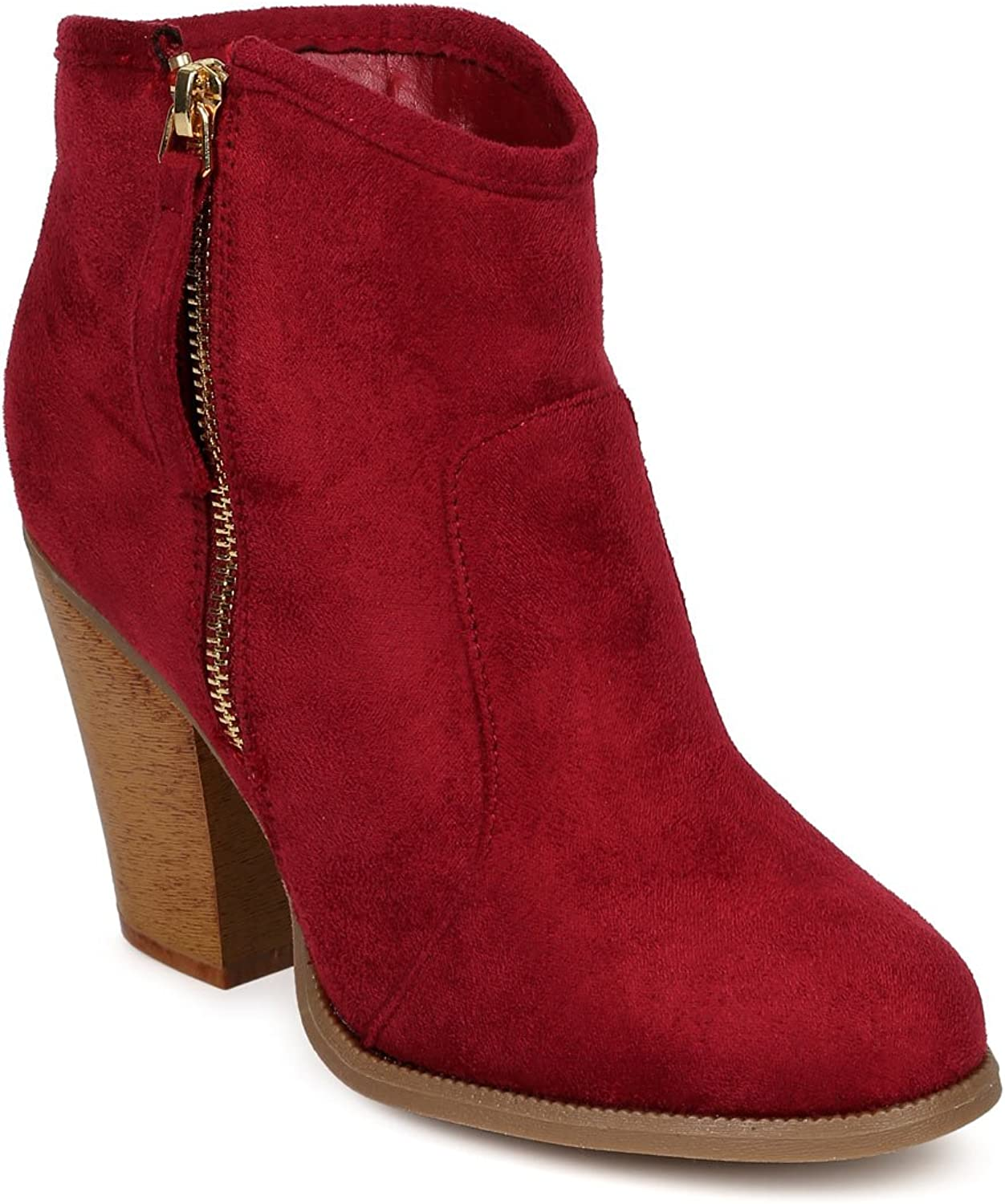 Liliana CK46 Women Suede Round Toe Chunky Heel Ankle Riding Bootie - Wine