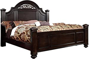 Furniture of America Malierd Transitional Fluted Poster Bed, King, Dark Walnut