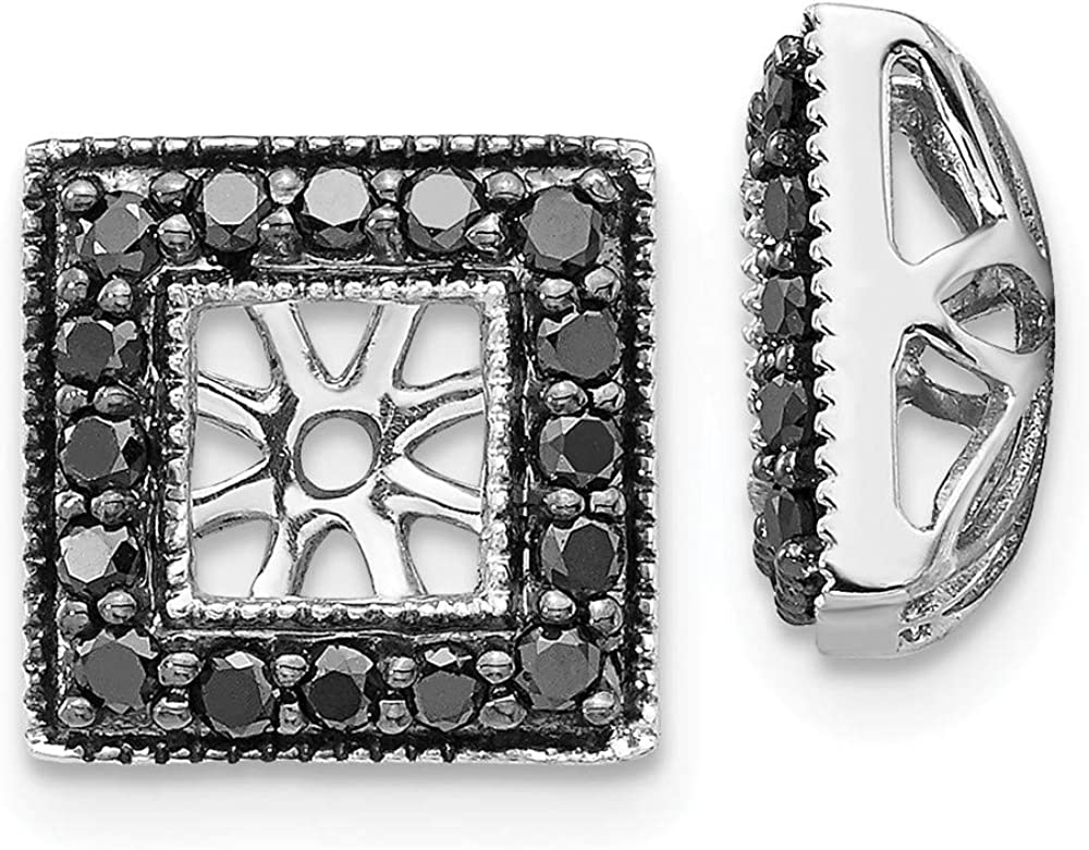 Solid 14K White Gold Black Diamond Square Jacket Earrings 10mm (.336 cttw.)