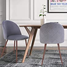 HOMECHO Velvet Dining Chairs Mid Century Modern Upholstered Accent Leisure Side Vanity Chair, with Sturdy Metal Legs, for Living Room, Set of 2, Gray