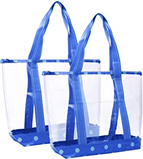 VENO 2 Packs Large Clear Bag, Transparent Vinyl PVC Tote Bag, Long Shoulder Handbag with Zipper Closure for Stadium, Event, Outdoor, Beach, Pool, Work, Sports Games, Shopping, Grocery (CYN)