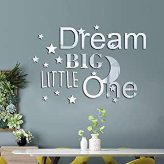 DIY 3D Acrylic Mirror Wall Stickers, MOCOLOM Dream Big Little One Mirror Combination Wall Decal, Removable Stars Moon Mura...