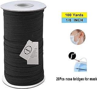 "IMNED 1/8"" (3mm) Elastic Band for Sewing 100 Yards Elastic Cord Braided Elastic Rope Elastic Spool Elastic String High Elasticity Knit Heavy Stretch for Sewing Crafts DIY Bedspread Cuff"