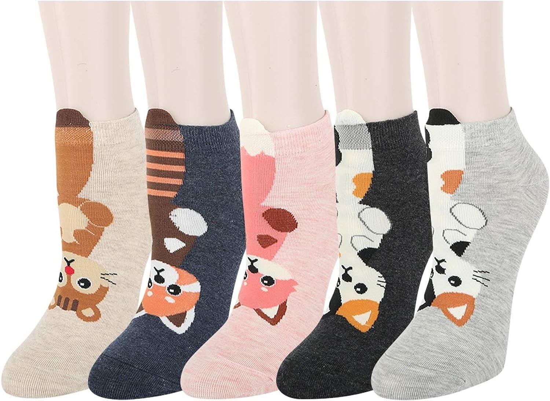 Benefeet Sox Womens Girls Fun Cute Ankle Socks Novelty Funny Low Cut Socks Crazy Cartoon Animal Patterned Colorful Short Socks Funky Casual Gift Socks, 5 Pack-Raccoon Cat Fox Squirrel
