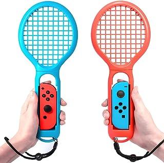 FYOUNG マリオテニス エースと連動するテニスラケット ラケット型アタッチメント Nintendo Switch Joy-Con用 マリオテニスなどのテニスゲームに対応 落下防止ストラップ付き 軽量ABS製 テニスゲームの臨場感 2点セット (ブルー·レッド)