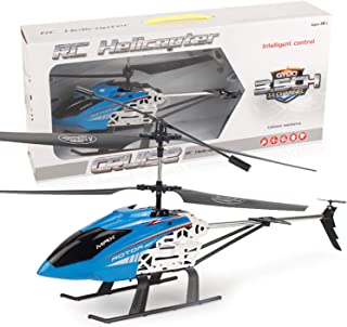 GLORY168 20Inch Large Aircraft Remote Control Helicopter with 3.5GHZ Channel Alloy Gyro Stabilizer and Multi-Protection Drone RC Helicopter Toy-Blue for Kids and Adults