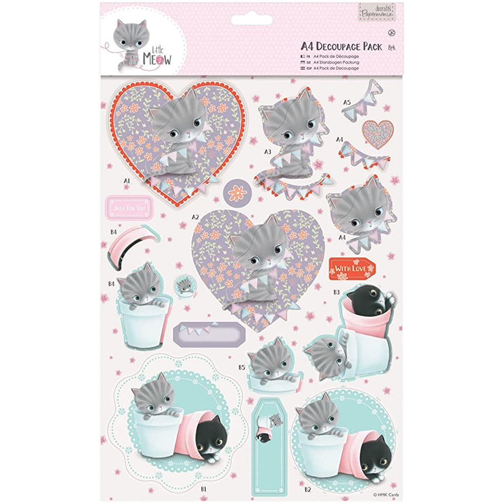 DOCrafts Papermania Little Meow A4 Decoupage Pack, Friends