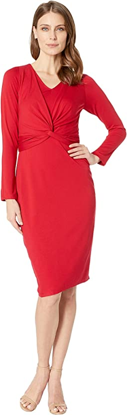 V-Neck Long Sleeve Midi Dress
