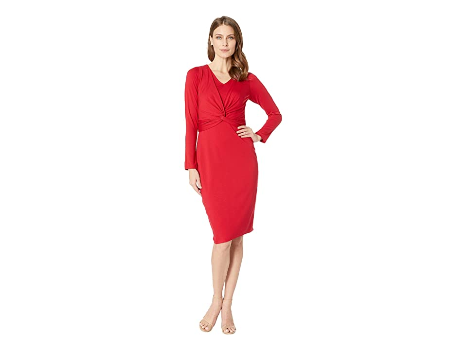 Taylor V-Neck Long Sleeve Midi Dress (Scarlet) Women