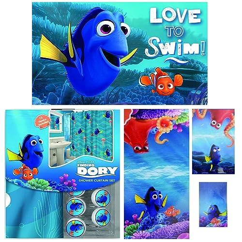 Disney Marvel New Shower Curtain Hooks Bath Towel Memory Foam Mat Set