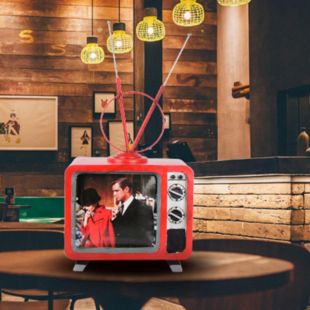 TOPQSC Retro TV Modelo Hacer Antiguo Hierro Craft Regalo Creativo Antena TV Modelo de Adornos de Navidad: Amazon.es: Hogar