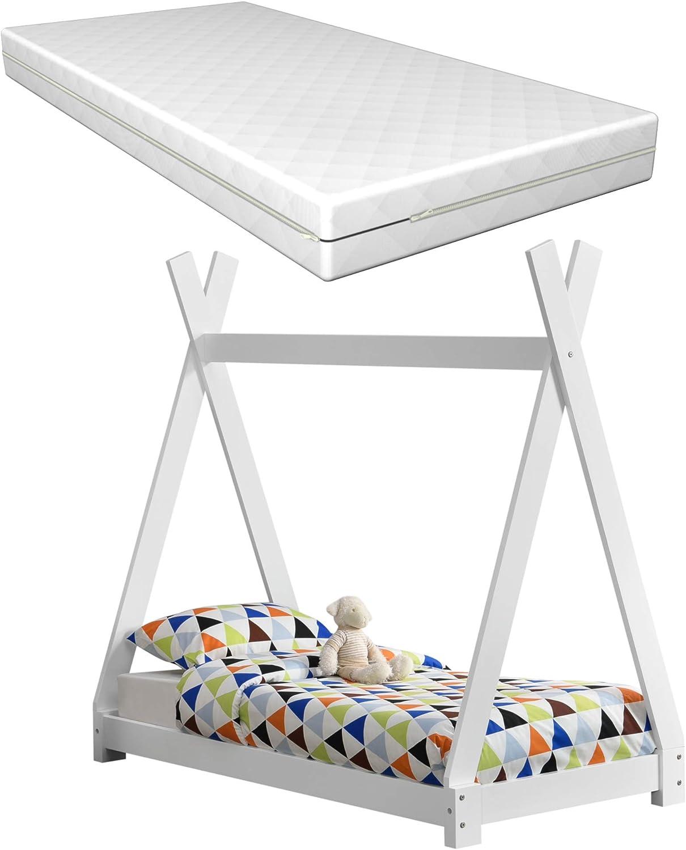 [en.casa] Kinderbett Wei mit Matratze 70x140cm Tipi-Design Kiefernholz Bett Holzbett Hausbett Kaltschaummatratze ko-Tex Standard 100 Allergikergeeignet Atmungsaktiv
