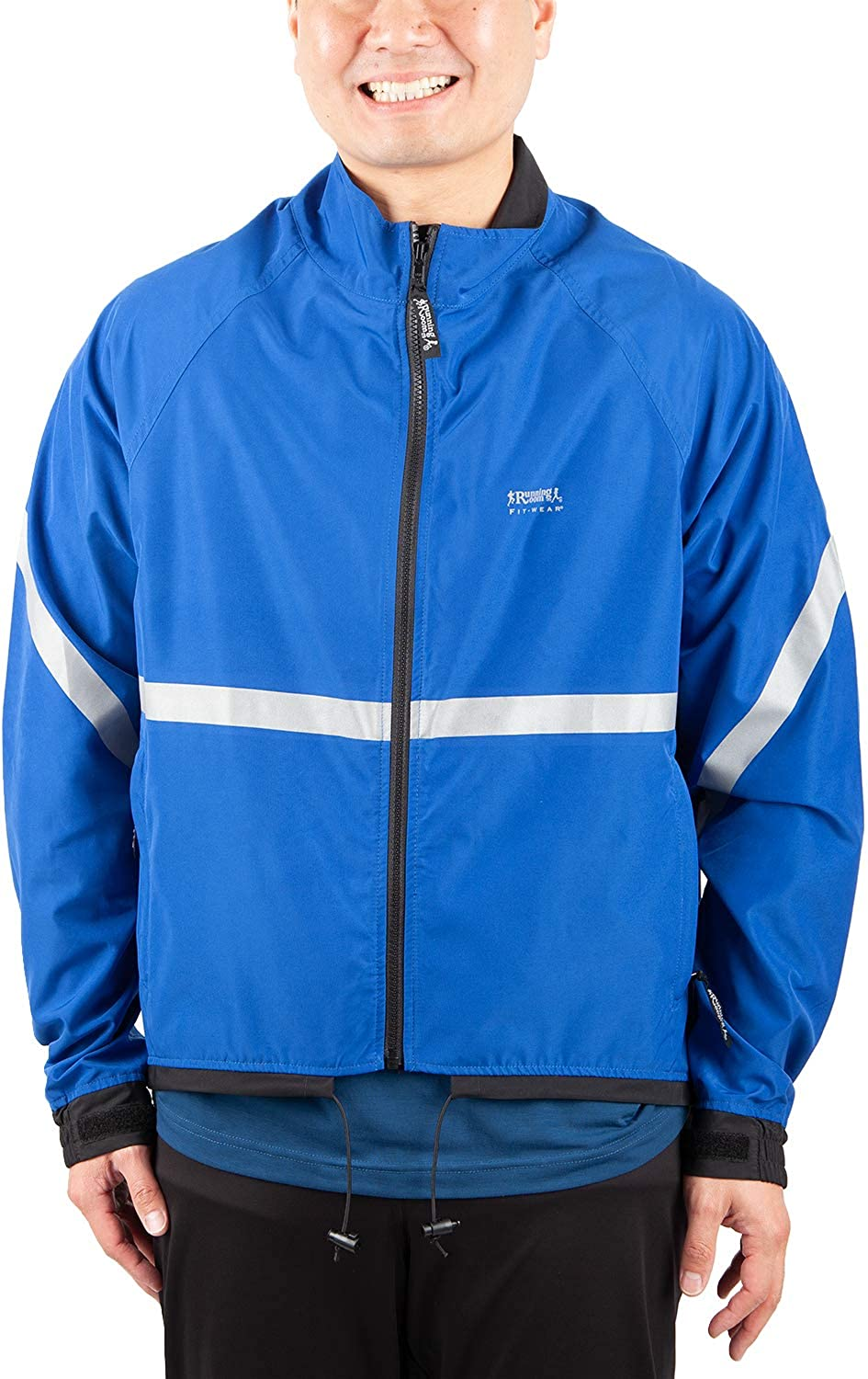 Running Room Unisex Reflective Jacket with Pockets (MED, Royal bluee)
