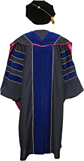 Deluxe Graduation Doctoral Gown,Hood and 8-Side Tam Package