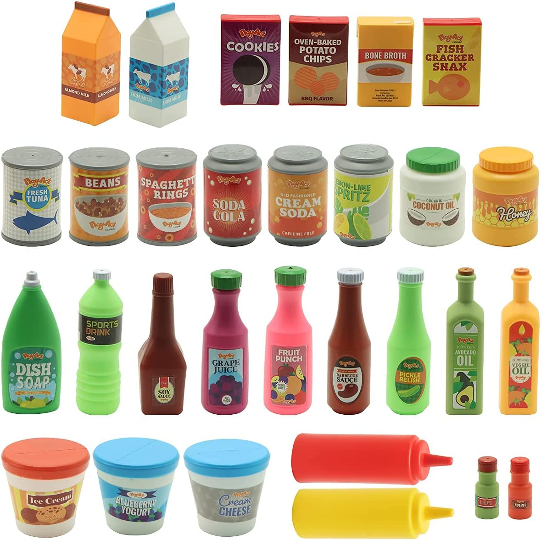 JOYIN 30Pcs Play Food Grocery Cans, Pretend Play Kitchen Accessories, Includes Drink, Juice, Jar, Seasoning, Water Bottle, Sauce, Yogurt, Ice Cream, Snack Box, Kids Gifts & Indoor Toys