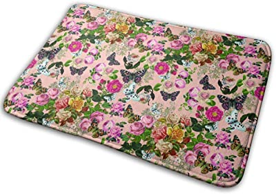 Butterflies and Rose Bushes Carpet Non-Slip Welcome Front Doormat Entryway Carpet Washable Outdoor Indoor Mat Room Rug 15.7 X 23.6 inch