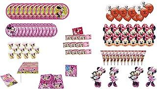 ALMACENESADAN 1007, Pack Fiesta y cumpleaños Disney Minnie Mouse, 12 Invitados, (113 Piezas)